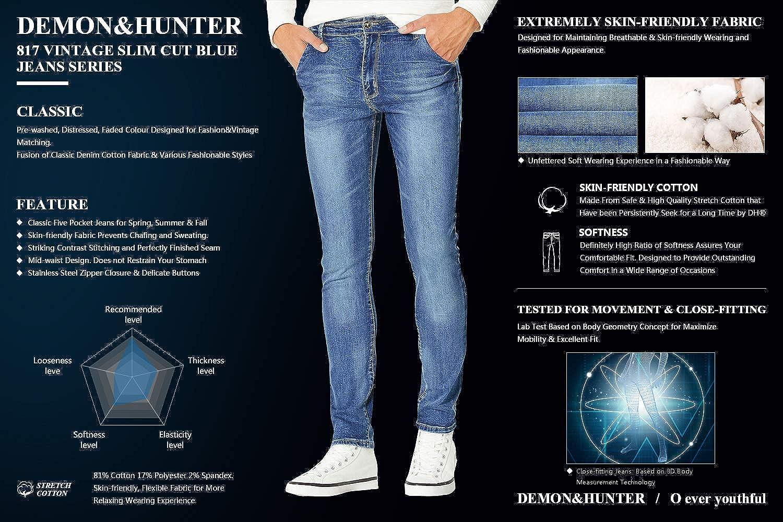 Demon&Hunter Vaqueros Slim corte recto Jeans para Hombre DH817