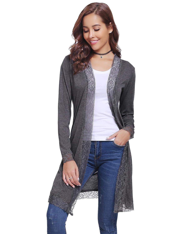 cd30076c5731 Aibrou Gilet Femme Léger avec Dentelle Cardigan Long Outwear Casual Ample  Boléro Femme  Amazon.fr  Vêtements et accessoires