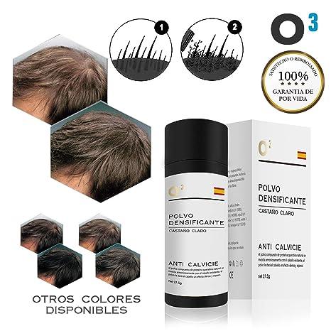O³ Fibras Capilares Castaño Claro 27,5 G Neto - Keratin Fibers Castaño Claro 100% Natural Para Disimular Calvicie y Aumentar el Volumen | Maquillaje ...