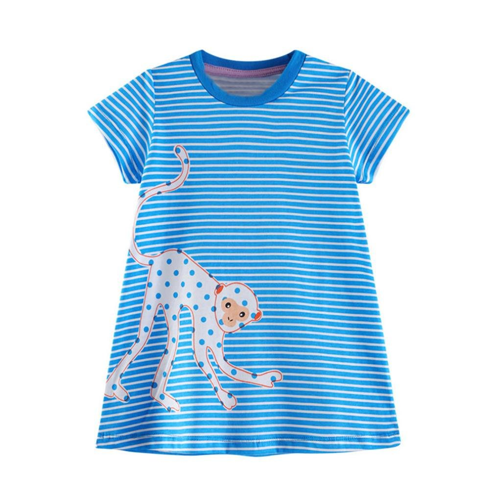 Jchen TM Toddler Baby Kid Girl Cartoon Bird Embroidery Dress Stripe Dress Outfit Clothes For 1-6 Years Old