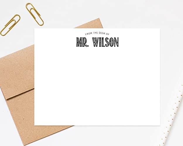 amazon com from the desk of male teacher notecard personalized