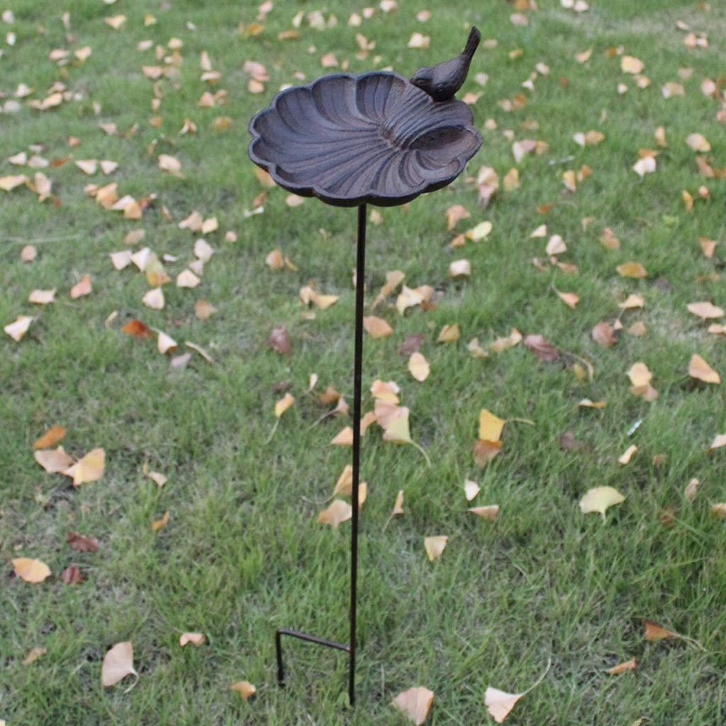 CQ Vintage Garden Villa Courtyard Cast Iron Bird Feeder Bird Food Bowl Garden Ornament Decoration Flower Insert