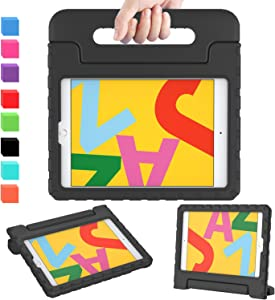 AVAWO iPad 7th Generation Case for Kids, iPad 10.2 2019 Kids Case, Light Weight Shock Proof Convertible Handle Stand Kids Friendly Case for iPad 10.2 inch 2019 Release and Air 3 - Black