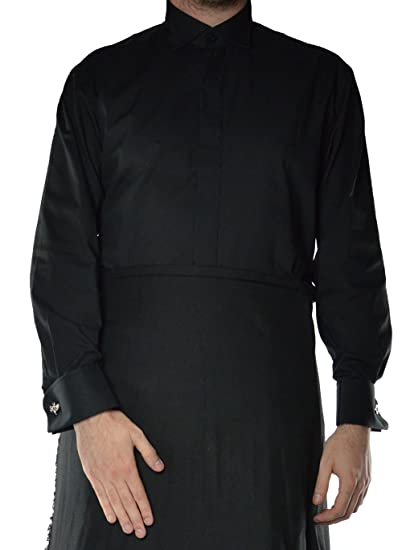 Mens Formal Black Wing Collar Dress Shirt With Double Cuff At Amazon