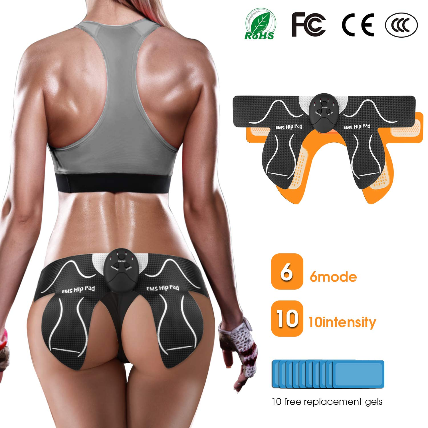 MOICO Butt Hips Trainer 2019 Upgrade Muscle Toner Fitness Training Gear Home Office Ab Trainer Workout Equipment Machine Fitness for Women Men,10pcs Free Gel Pads by MOICO