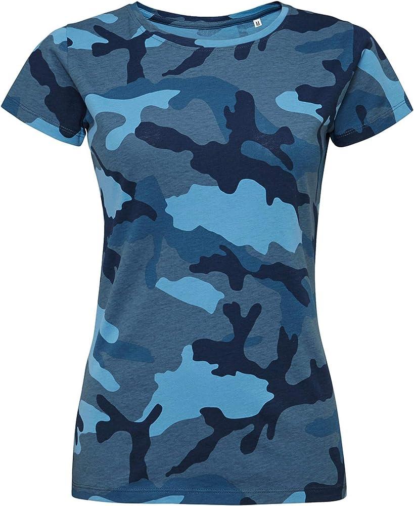 SOLS- Camiseta de Manga Corta Camo para Chica/Mujer (Pequeña (S)) (Azul Camuflaje): Amazon.es: Ropa y accesorios