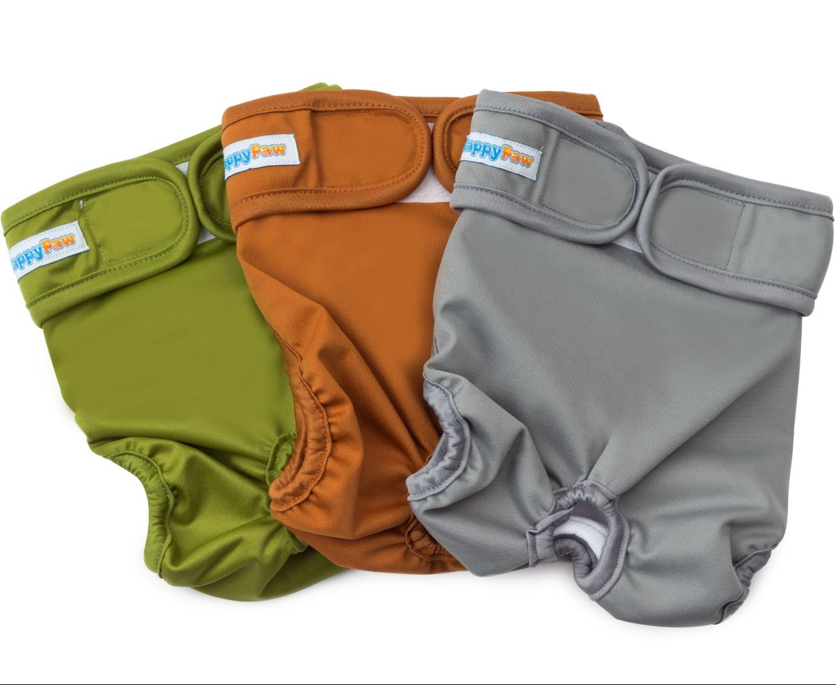 HappyPaw Reusable Washable Dog Diapers - Size Large - (3 Pack) - Durable Dog Wraps for Both Male and Female Dogs - Premium Quality