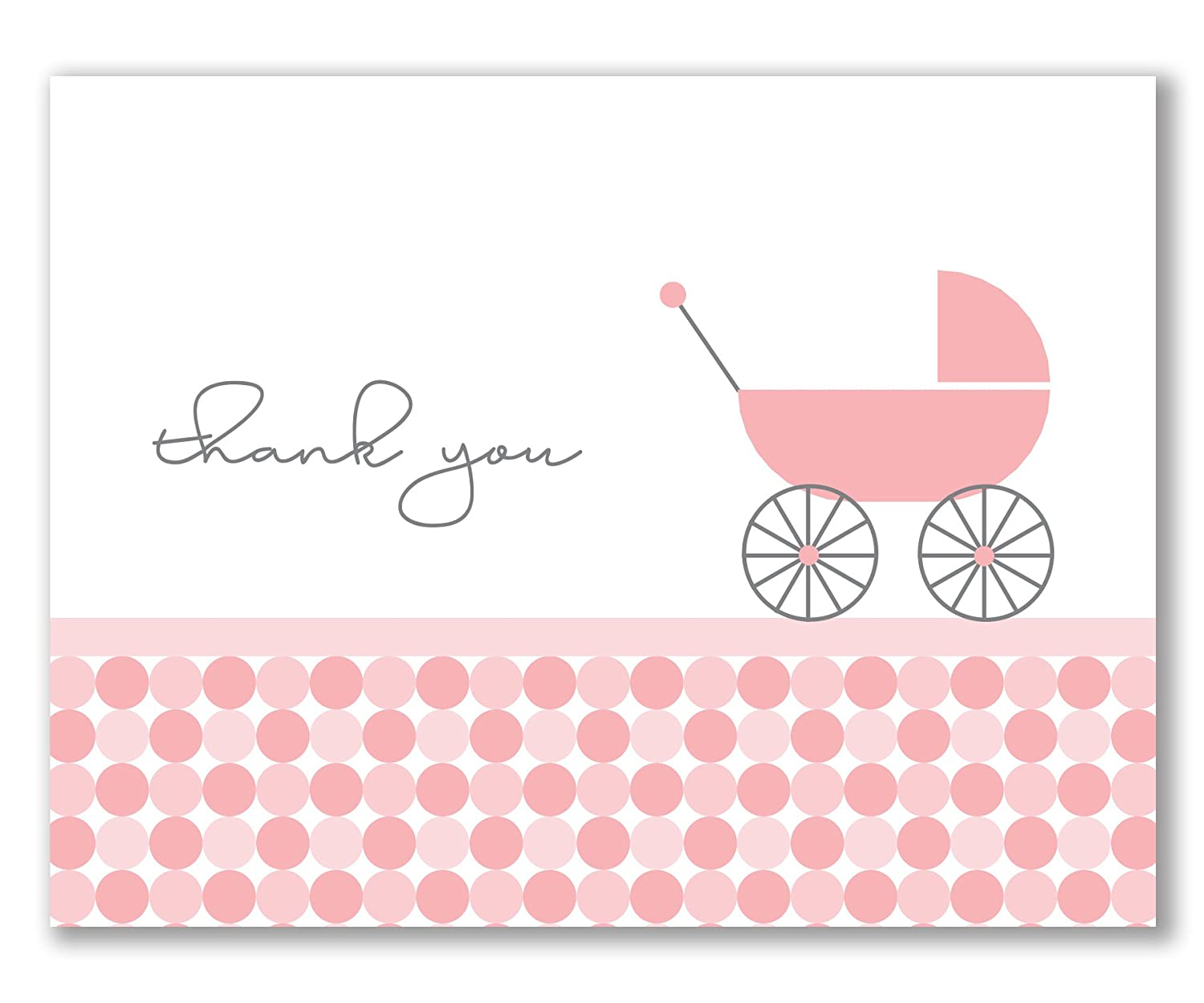 10 Baby Shower Thank You Cards, Recycled, Modern Pink Circles for Baby Girl, with Coordinating Pink Envelopes – Charley by Two Poodle Press