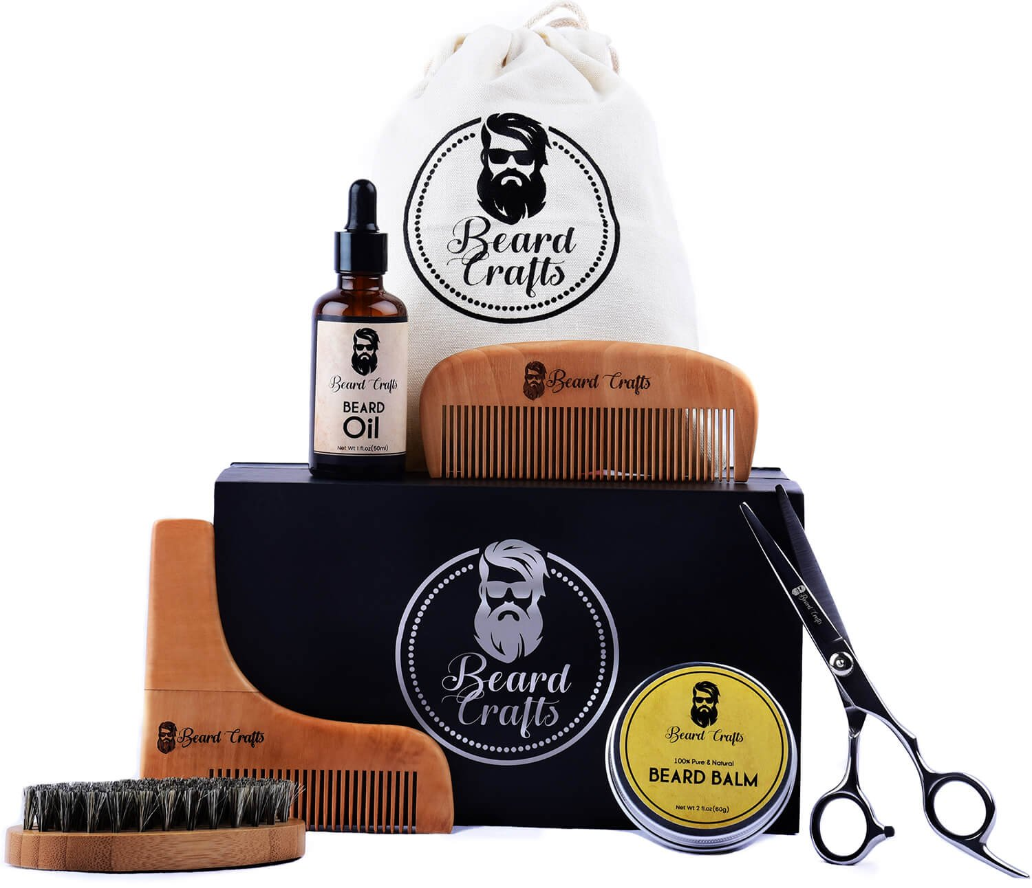 Beard Crafts Kit for Grooming & Trimming - Men Care With Beard Oil Leave-in Conditioner | Beard Balm Butter | Wooden Comb | Boar Bristle Brush | Scissors & Shaping Tool for Styling & Growth Gift Set