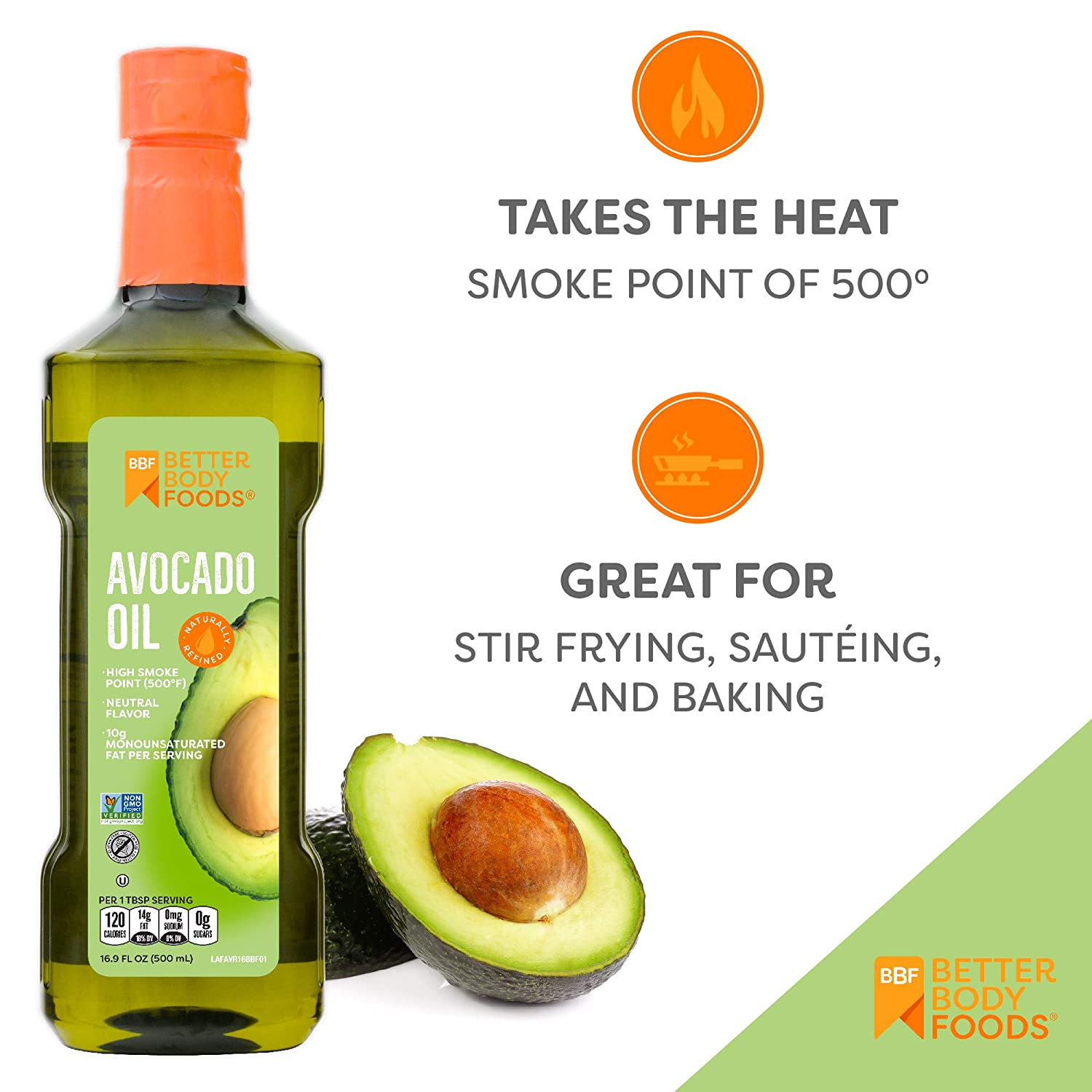 Avocado Oil Naturally Refined Cooking Oil Non-GMO 16.9 Ounce Keto & Paleo
