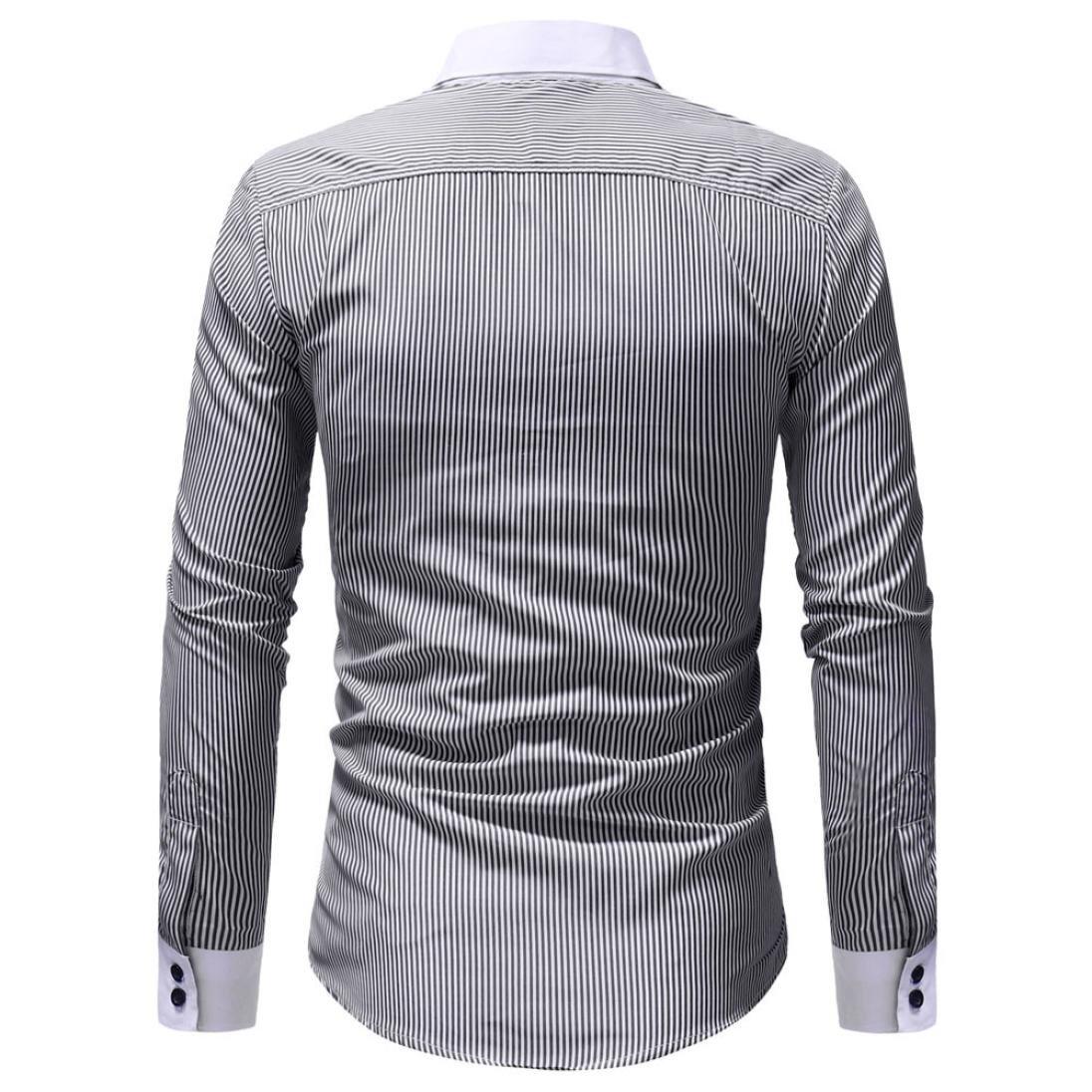 Longra Mens Autumn Winter Casual Striped Print Long Sleeve Button T