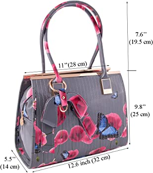 19e7fb789000 Womens High Quality PU Leather Poppies Flower Butterfly Handbags Shoulder  Tote Bag Or Matching Purse 511 (Dark Grey (W)
