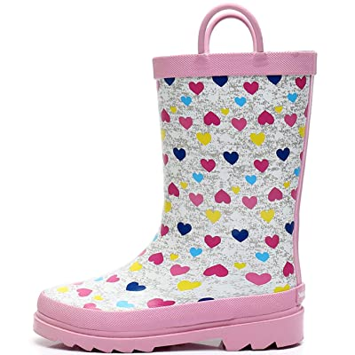 SOLARRAIN Boys Rubber Waterproof Rain Boots with Easy On Handles Non Slip Durable Mud Boots Fun Printed Rain Shoes for Toddler and Kids