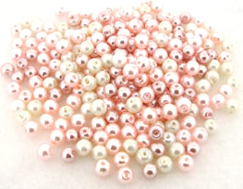 BABY PINK PEARLISED PEARL GLASS BEADS Various Sizes /& Qtys 200 x 4mm 100 x 6mm