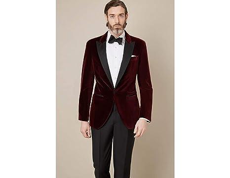 Zainabexports Men Burgundy Velvet Blazer Grooms Wedding Tuxed Jacket