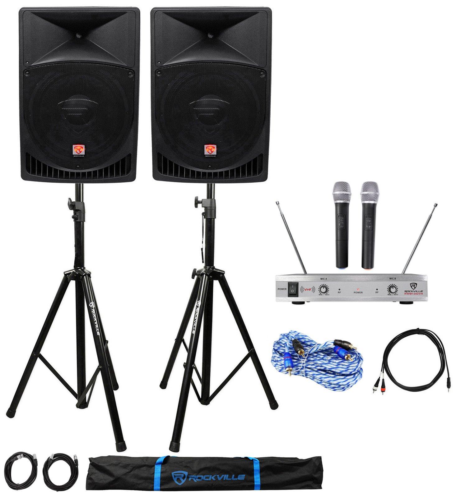 Rockville Powered Dual 15'' ipad/iphone/Android/Laptop/TV Karaoke Machine/System