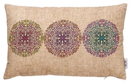 B&H Funda Cojín con Diseño Tres Mandalas, Algodón, Individual, 50x30x3 cm