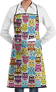 QIAOJIE Owls Different Expressions Chef Apron Bib Apron Kitchen Apron Adjustable Extra Long Ties Women Men BBQ Baking Cooking-Black