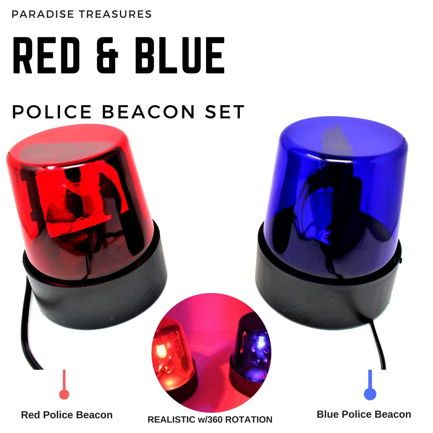 Rotating Red and Blue Flashing Police Beacon Party Light Lamps DJ Strobe Light Paradise Treasures