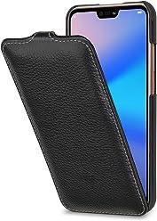 StilGut UltraSlim, Housse en Cuir pour Huawei P20 Lite. Étui de Protection à Ouverture Verticale en Cuir Fin et léger pour Huawei P20 Lite, Noir