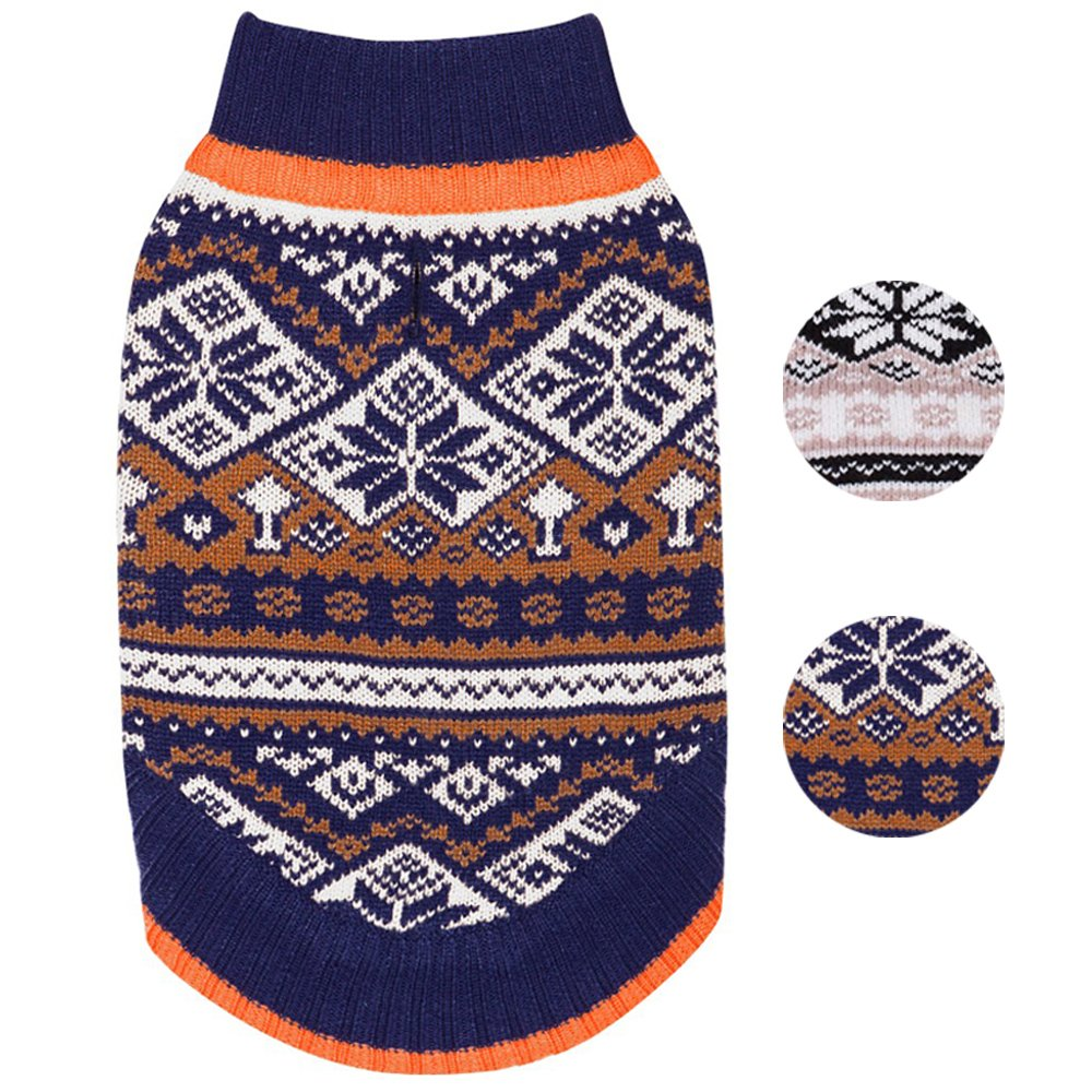 Blueberry Pet 2 Patterns Nordic Pattern Inspired Fair Isle Navy Blue Snowflakes Dog Sweater, Back Length 16'', Pack of 1 Clothes for Dogs
