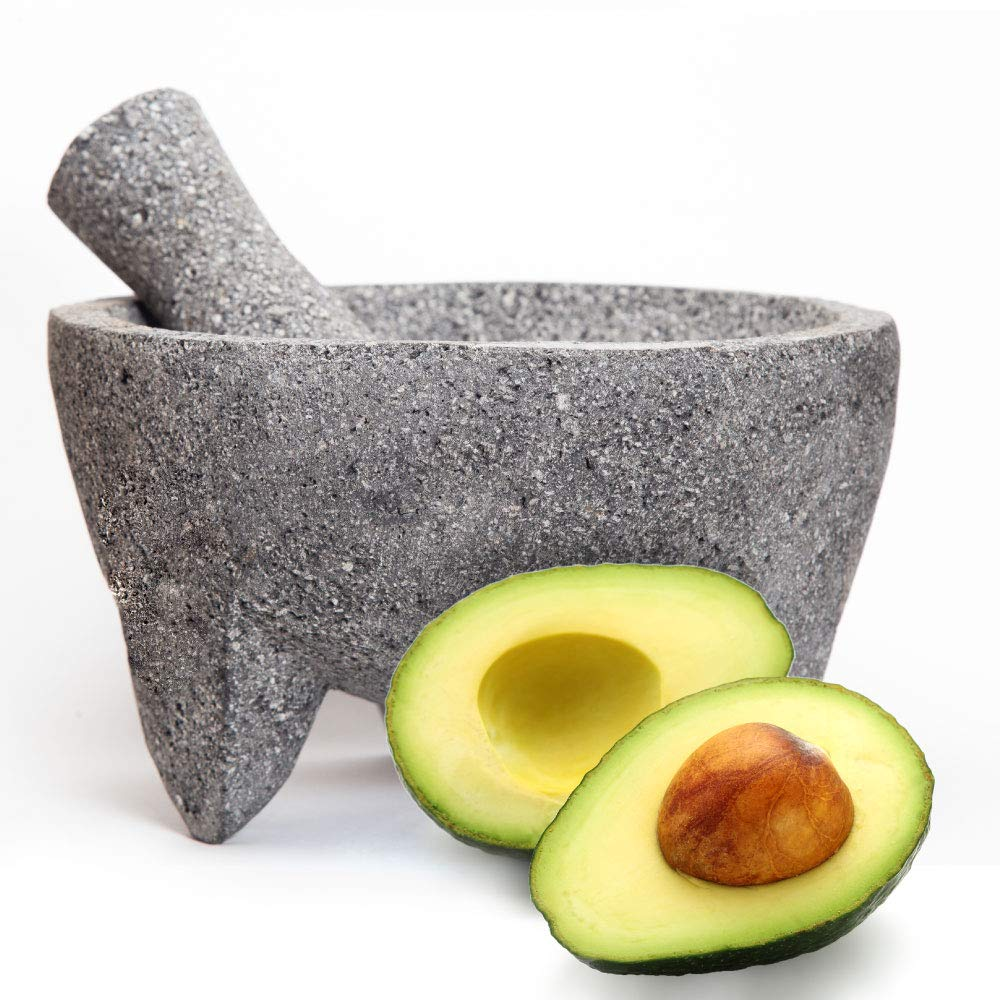 The Mayora Large 100% Authentic Mexican Molcajete - 8 inch Volcanic Lava Stone Mortar and Pestle by The Mayora