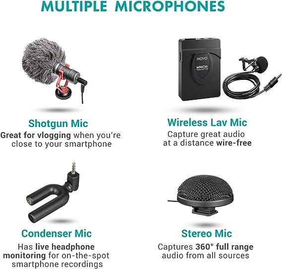 Movo - Kit de vídeo para smartphone V8 con grifo de agarre, inalámbrico/escopeta/mini y micrófonos estéreo de 360°, 16 y 30 luces LED, mini trípode profesional y mando a distancia – para