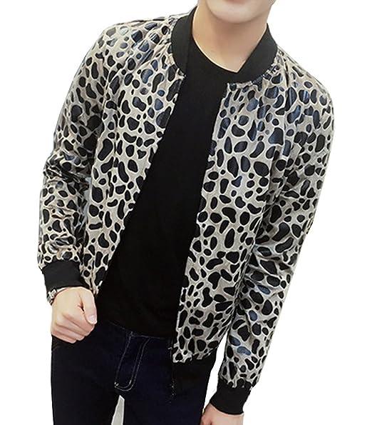 Ouye Men S Leopard Casual Varsity Jacket Large Khaki At Amazon Men S