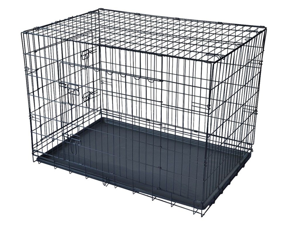 2 Door Pet Cage Folding Dog With Divider Cat Crate Cage Kennel w/Tray LC Black 48 Inch
