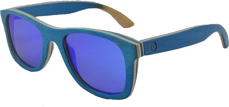 Men's 2019 Handcrafted Blue Skate Wood Frame Blue Mirror Polarized Sunglasses