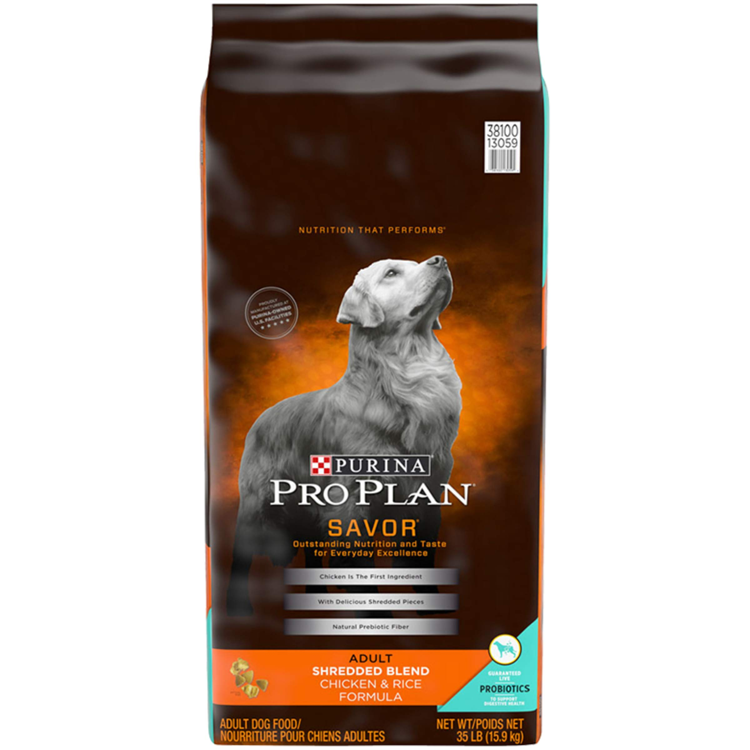 Purina Pro Plan With Probiotics Dry Dog Food, SAVOR Shredded Blend Chicken & Rice Formula - 35 lb. Bag by PURINA Pro Plan