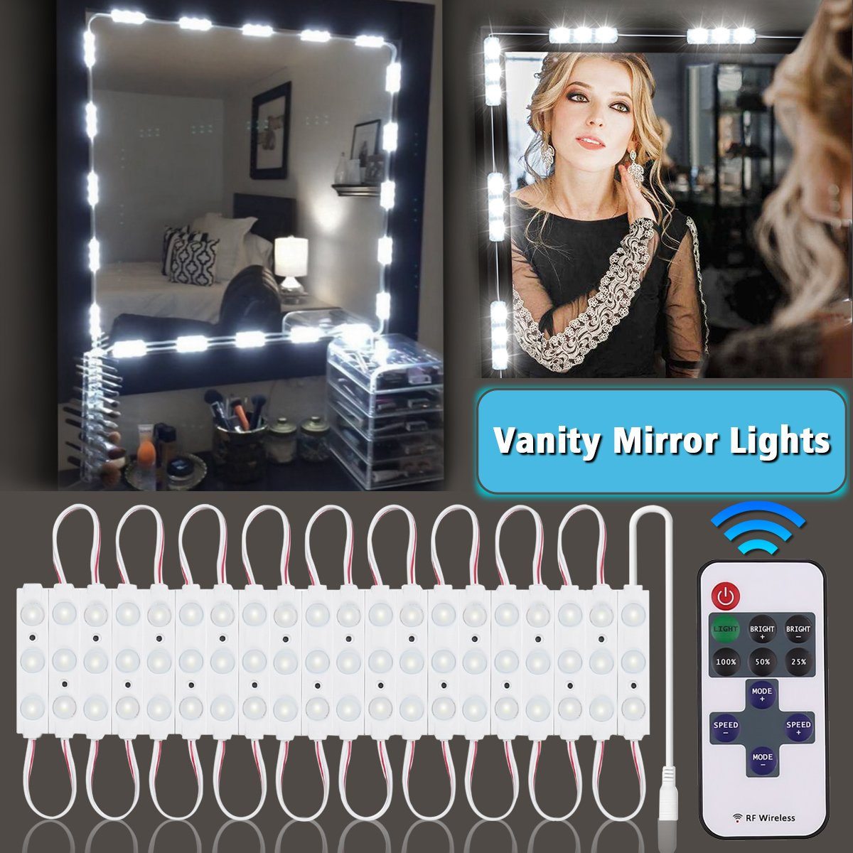 LED Vanity Mirror Lights Kit - Updated, KingSo 2400Lumens Dimmable 13ft 60LED Strip Lights with Remote, Waterproof IP65 Daylight White Hollywood Makeup Dressing Table Vanity Set in Dressing Room