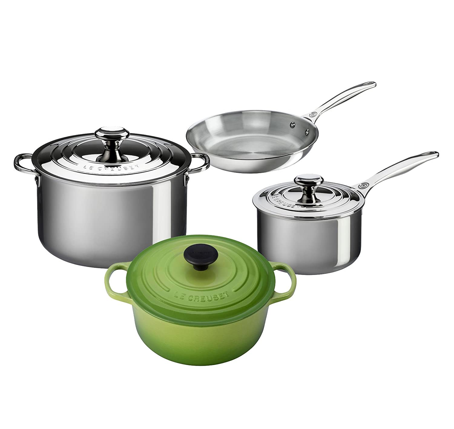 Amazon.com: Le Creuset 7-Piece Stainless Steel and Enameled Cast ...