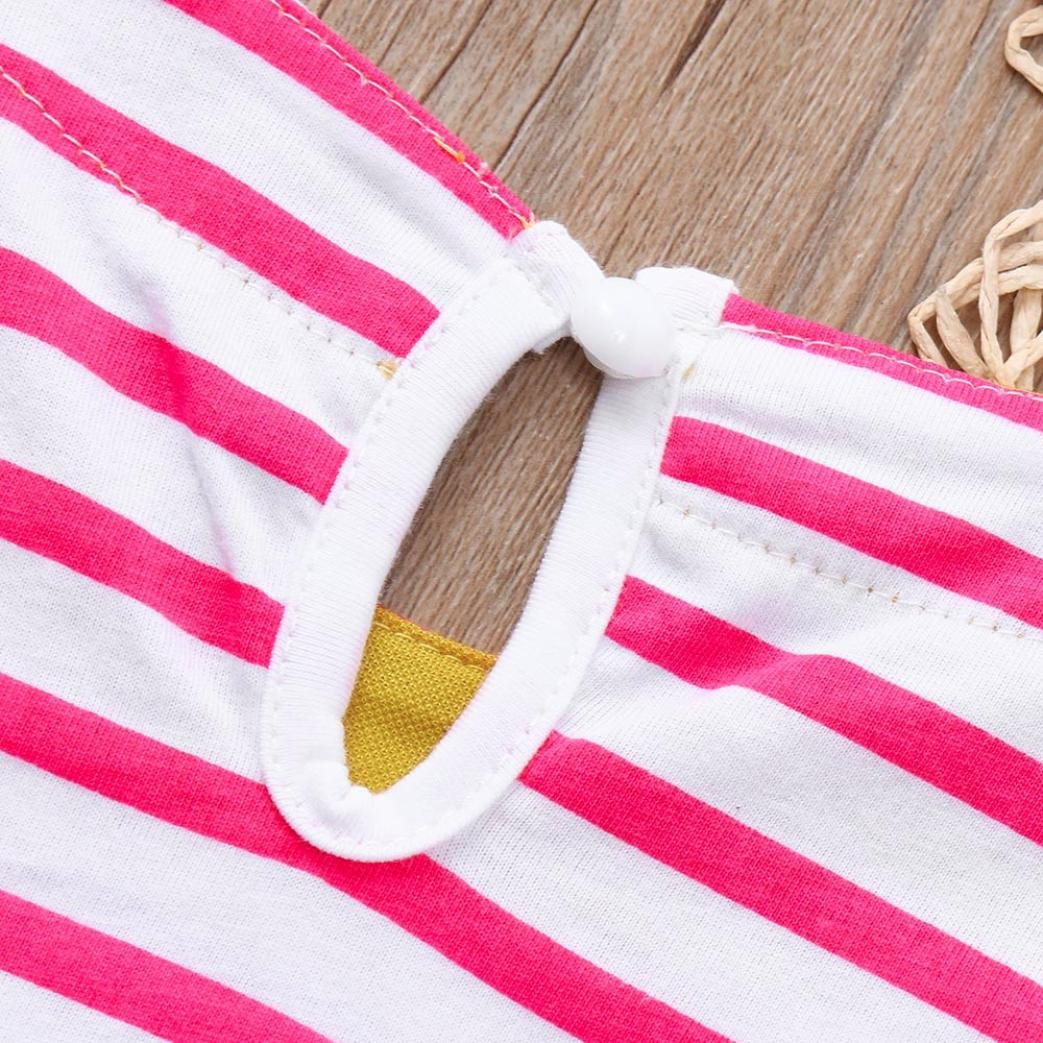 Scaling /♥Floral Maxi Girls Dresses,Toddler Baby Girls Stereoscopic Cartoon Striped Dress Short Sleeve Clothes