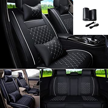 FLY5D Universal Car Seat Covers PU Leather 5 Seats Auto Cover Cushion Front Rear