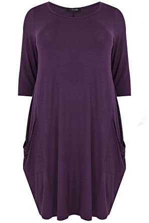 Yours Clothing Women/'s Plus Size Grey Drape Pocket Dress