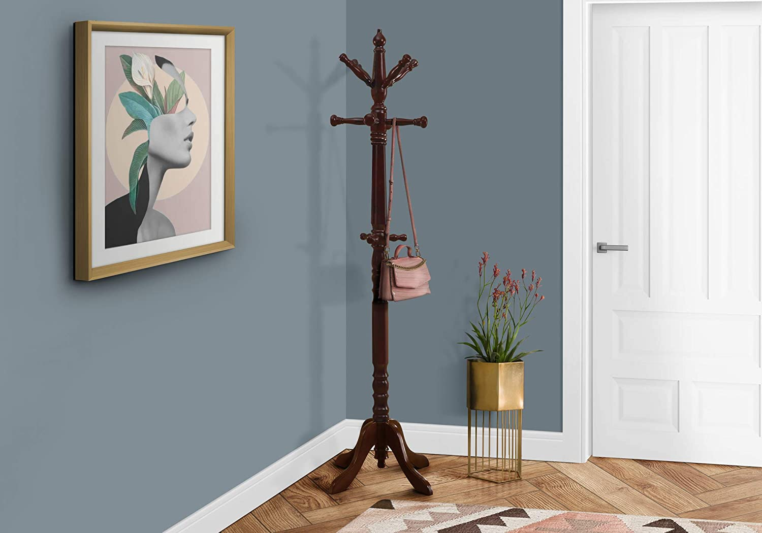Monarch Specialties Traditional Solid Wood Coat Rack Cherry Furniture Decor
