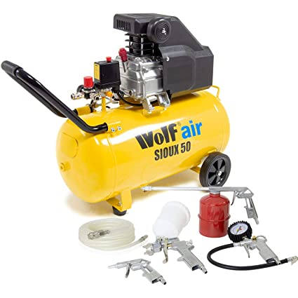 Wolf Sioux 50L Air Compressor 9 6CFM 2 5HP 230V 116psi with 5pc Inflator  Kit & 5m Hose