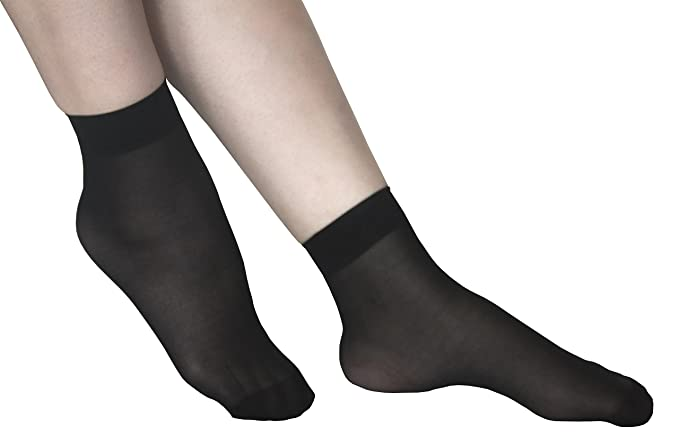 a12548e60 Image Unavailable. Image not available for. Color  Lanko 5 Pairs Ankle High  Polyamide Opaque Sheer Hosiery Women Black Socks