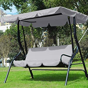 Ruiqas Canopy Swing Top Cover,3 Seater Patio Swing Chair Replacement 190T Silver-Coating Polyester Waterproof Cover for Garden Terrace Swing Hammock