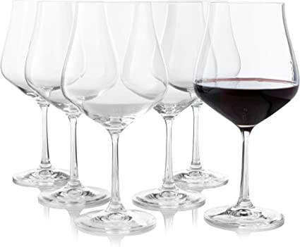 Crystalex - Juego de 6 copas de vino tinto grandes, forma de tulipán, tallo largo, ideal para burdeos, burdeos, merlot, vino tinto o blanco, cristal ...