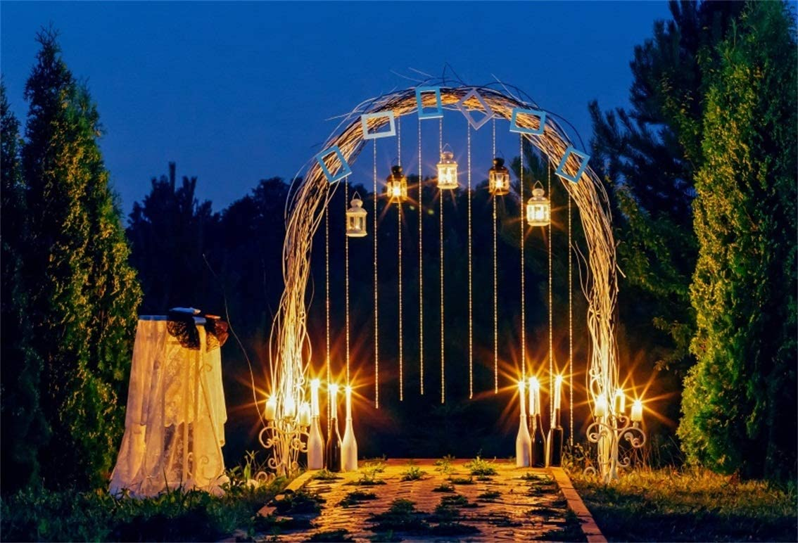 CSFOTO 10x7ft Background Romantic Archway in Garden Night Photography  Backdrop Retro Lantern Bunch Outdoors Wedding Party Romantic Worm Candle  Light