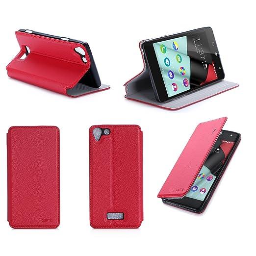 6 opinioni per Rosso Custodia Pelle Ultra Slim per Wiko Fever 4G smartphone- Flip Case Funda