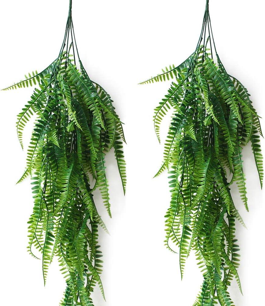 JaneYi - 2 piezas artificiales de plástico para plantas, diseño de helecho Boston