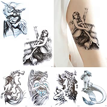 e14b05aebace7 Amazon.com : 6 Sheets Mermaid Decal Sketch Temporary Tattoo Sticker Set for  Body Arm Back Art Fake : Beauty
