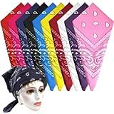 KUUQA 10Pcs Paisley Bandanas Assorted Cowboy Bandanas Unisex Novelty Print Head Wrap Scarf Wristband for Adults and Kids…