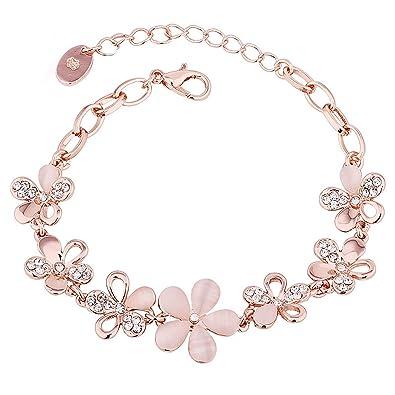 f93ad9cd8d937a Merdia サクラブレスレットレディース フラワー 桜の花 ピンク腕輪 バングル 花びら ギフト 長さ調整可