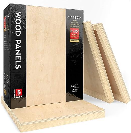 Arteza Lienzos de madera para pintar (20,3 x 25,4 cm), pack de 5 ...