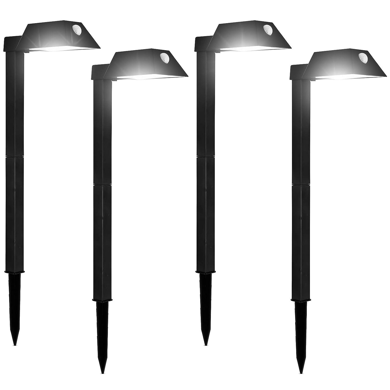 "Morvat LED Motion Sensor Outdoor Pathway Lights, Landscape Lights, Solar Path Lights, Motion Sensor Path Lights, Walkway Lights, 110 Lumens, 20"" x 5.5"" x 4.5"", Adjustable, Waterproof, Black, Pack of 4"