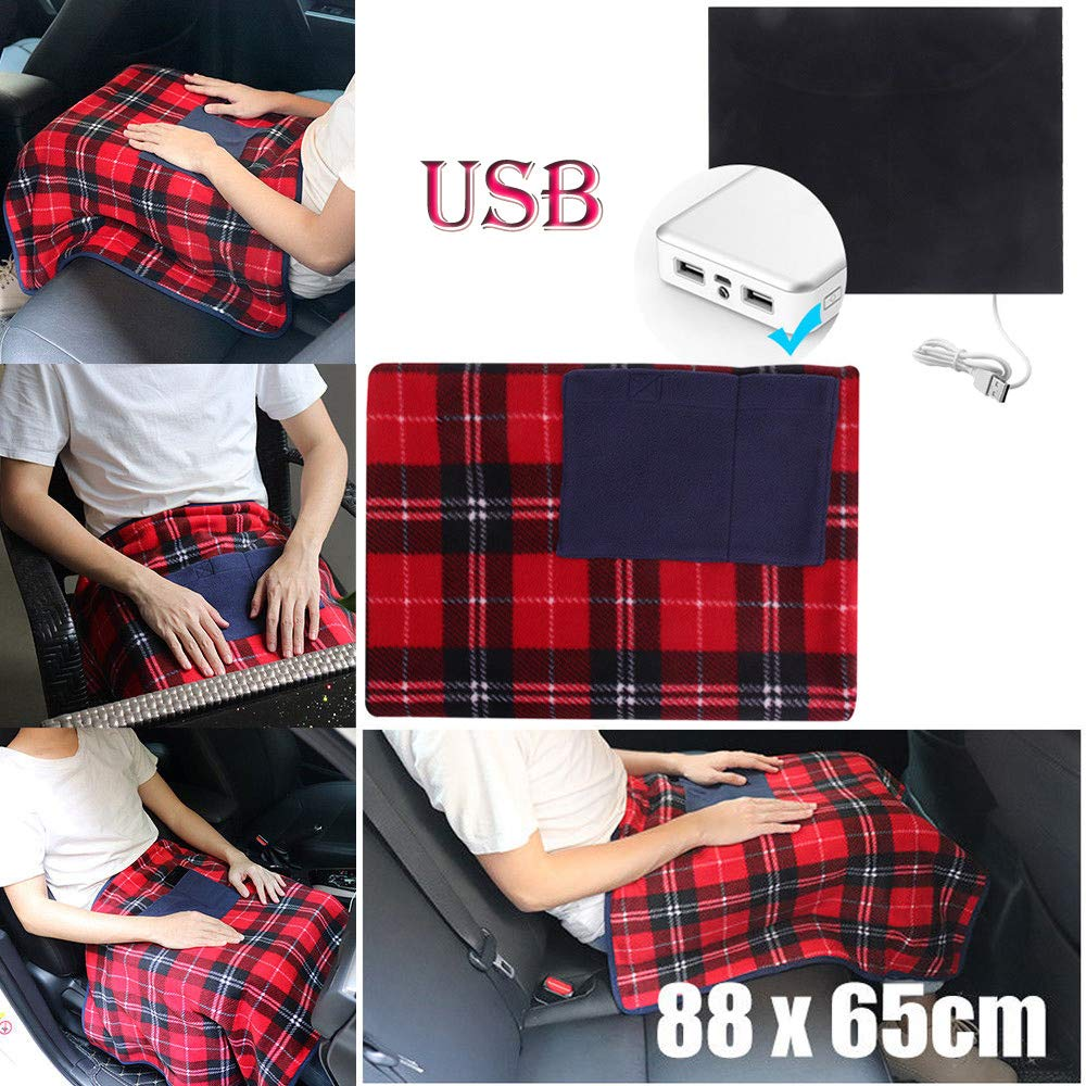 Electric Heated Shawl USB Soft Heated Shawl,Outsta Winter Electric Warming Neck Shoulder Heating Blanket Pad Personal Heating Lap Shoulder Blanket for Winter Warming (Multicolor(2019New), 35×25inch)